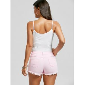 Skinny Ripped Denim Frayed Hem Shorts - PINK XL