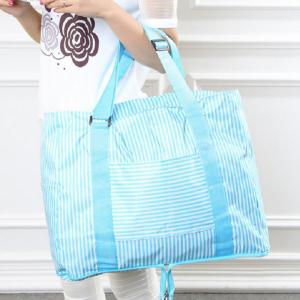 Foldable Nylon Striped Storage Bag - Windsor Blue - 39