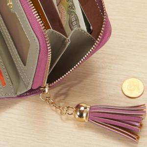 Tassel Cartoon Patch Small Wallet - BLUE