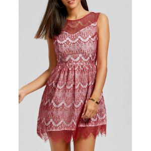 Scalloped Lace Dress - Red - L