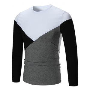 Long Sleeve Color Block Panel T-shirt