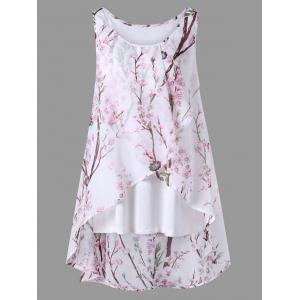Plus Size Overlap Tiny Floral Sleeveless Top - Pink - 3xl