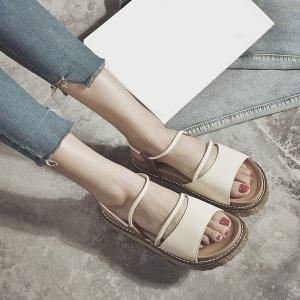 Faux Leather Platform Sandals - Off-white - 39