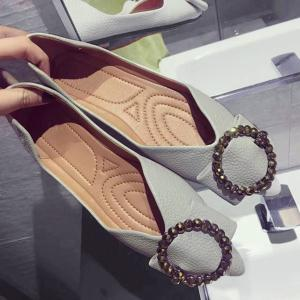 Faux Leather Buckle Strap Flat Shoes