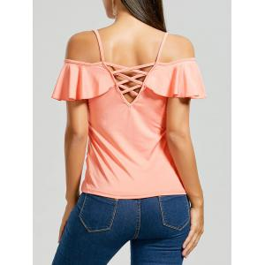 Lattice Back Cold Shoulder T Shirt
