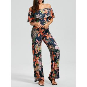 off Shoulder Flounce Floral Leaf Print Jumpsuit
