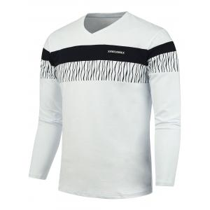 PU Label Embellished V Neck Striped Tee