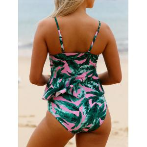 High Waisted Peplum Tankini Set - COLORMIX S