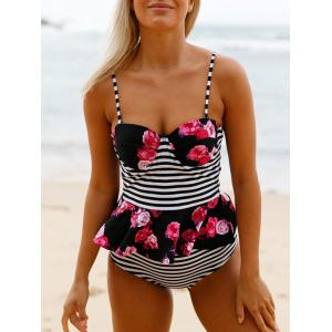 High Waisted Peplum Tankini Set