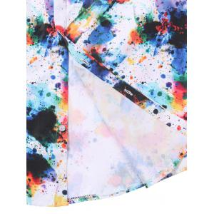 Hidden Button Colorful Paint Splatter Shirt - COLORMIX M