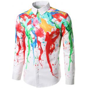 Hidden Button Paint Splash Shirt - COLORMIX 2XL