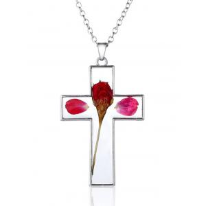 Crucifix Dry Flower Inlaid Pendant Necklace