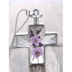 Cross Dry Flowers Inlay Beaded Chain Necklace