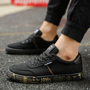 Tie Up Letter Printed Canvas Shoes -