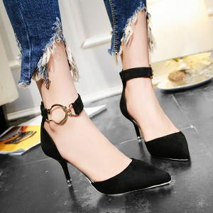Zipper Two Piece Metal Ring Pumps - Black - 39