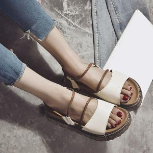 Faux Leather Platform Sandals