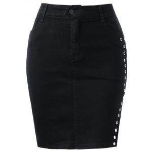 Slit Mini High Waisted Bodycon Skirt - Black - L