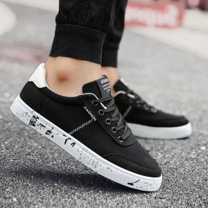 Tie Up Letter Printed Canvas Shoes - Black White - 44