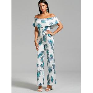 Flounce Leaf Printed Jumpsuit with Pockets - FLORAL L