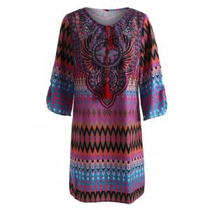 Tassel V Neck Mini Tribal Print Dress - Red - 2xl
