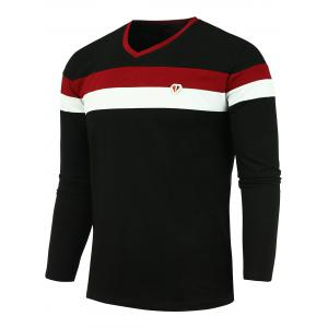 Long Sleeves V Neck Color Block T-shirt