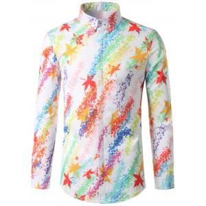Hidded Button Maple Leaf Print Colorful Shirt