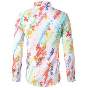 Hidded Button Maple Leaf Print Colorful Shirt - COLORMIX 2XL