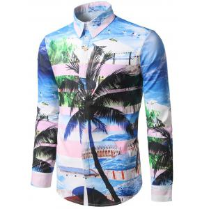 Hidden Button Coconut Tree Print Shirt - COLORMIX XL