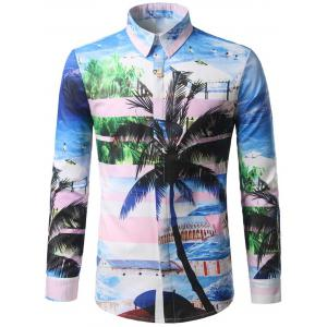 Hidden Button Coconut Tree Print Shirt