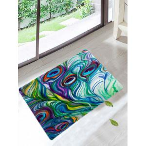 Peacock Feathers Skidproof Coral Fleece Bath Rug - Colorful - W20 Inch * L31.5 Inch