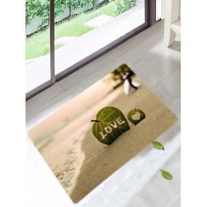 Skidproof Leaf Love Heart Pattern Bath Rug