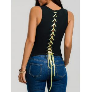 Sleeveless Lace Up Slim T-shirt