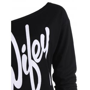 Sexy Letter Printed Slash Neck Pullover Sweatshirt For Women - BLACK XL
