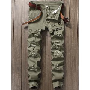 Distressed Zipper Fly Panel Design Beam Feet Jeans - Army Green - 32