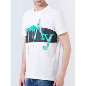 Short Sleeve Splatter Paint Graphic Print Panel T-shirt -