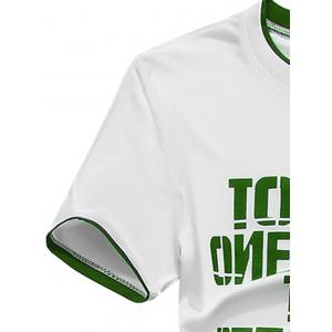 Short Sleeve Graphic Print Sport T-shirt and Shorts Twinset - GREEN XL