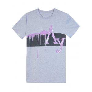Short Sleeve Splatter Paint Graphic Print Panel T-shirt - GRAY 2XL