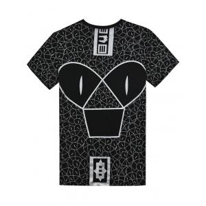 Short Sleeve Cartoon Graphic Print T-shirt - BLACK L