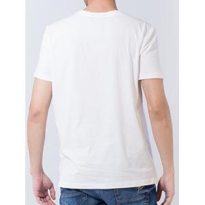 Short Sleeve Number and Graphic Print T-shirt - WHITE 3XL