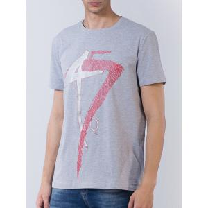 Short Sleeve Number and Graphic Print T-shirt - GRAY 3XL