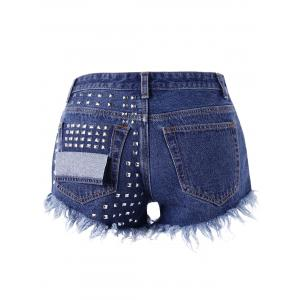 Frayed Rivet Denim Shorts