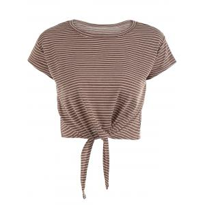 Tied Front Striped Crop Top