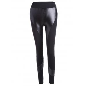PU Insert Tight Leggings - Black - L