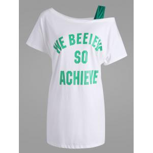 Believe Graphic Skew Neck Plus Size T-shirt - White - 5xl
