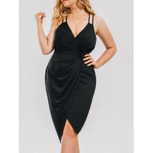 Plus Size Knot Ruched Evening Slip Dress - Black - 4xl