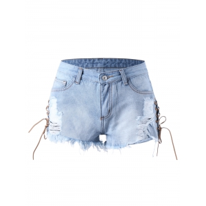 Lace Up Frayed Ripped Denim Shorts - LIGHT BLUE M