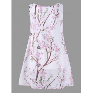 Plus Size Overlap Tiny Floral Sleeveless Top - PINK 2XL