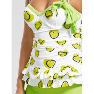Sweetheart Tiered Skirted Tankini Set - GREEN M