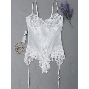 Lace Panel See Through Teddy - White - Xl