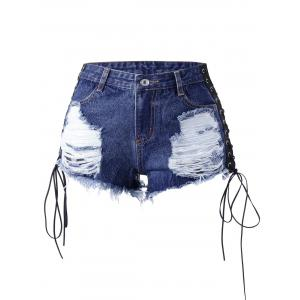 Lace Up Distressed Frayed Denim Shorts -